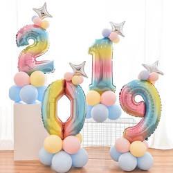 32 дюймов фольга градиент воздушные шары в форме цифр набор количество шарик для дня рождения воздушные шары вечерние Декор дети мультфильм