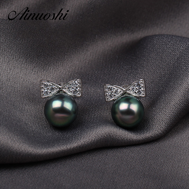 AINUOSHI Cute Women Natural South Sea Black Tahiti 9mm Round Pearl Bow-knot Earring 925 Sterling Silver Bow Tie Shaped EarringsAINUOSHI Cute Women Natural South Sea Black Tahiti 9mm Round Pearl Bow-knot Earring 925 Sterling Silver Bow Tie Shaped Earrings