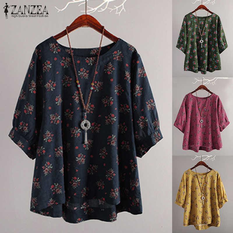 2019 летние женские повседневные рубашки ZANZEA с круглым вырезом и рукавом средней длины, свободные пляжные вечерние блузки с цветочным принтом, блузки из хлопка и льна