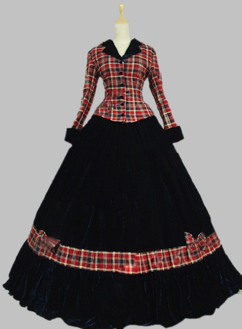 Pink Civil War Ball Gown Dress font b Tartan b font Velvet Reenactment Clothing Theatre Wear