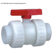 DN25 1 Manual Socket PVDF Plastic Ball Valve, Plastic PVDF BSPT Thread Ball Valve