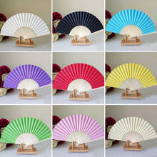 Chinese Hand Paper Fans Folding Bamboo Wedding DIY Party Favor ladies baby shower gift birthday decoration(China)
