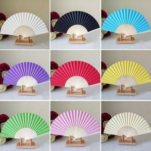 Mão chinesa Leques De Papel de Bambu De Dobramento de Casamento DIY Favor de Partido senhoras presente do chuveiro de bebê decoração de aniversário