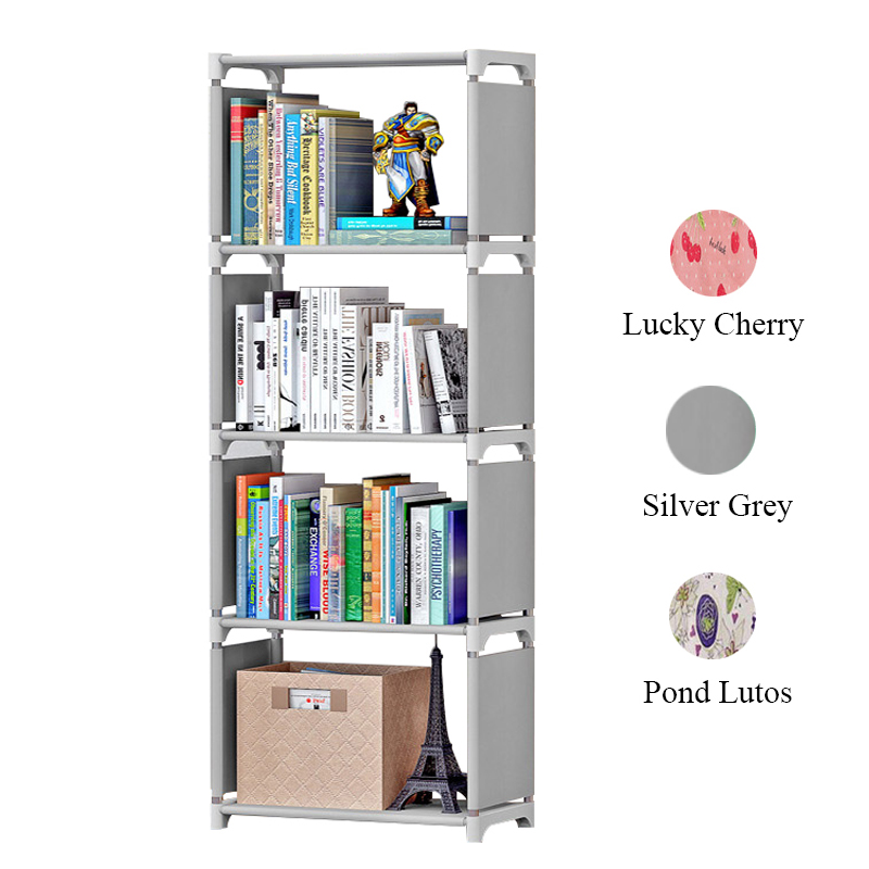 5 Tier Simple Bookshelf Stainless Steel Easy Moving Assembled Shelf Bookcase Creative Modern Small Home Decoration For Kids