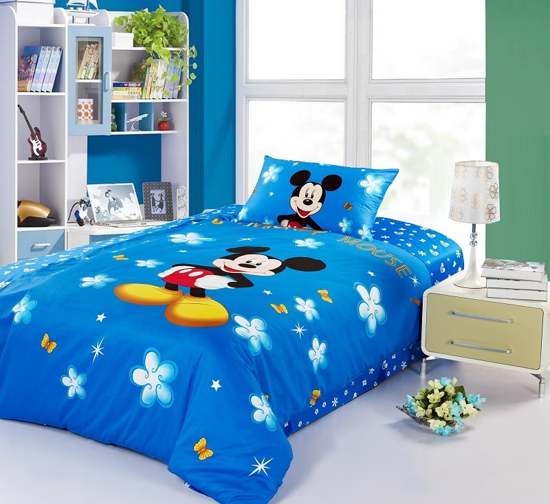 Mickey mouse twin full size queen bedding 100 cotton boys for Twin size toddler bed