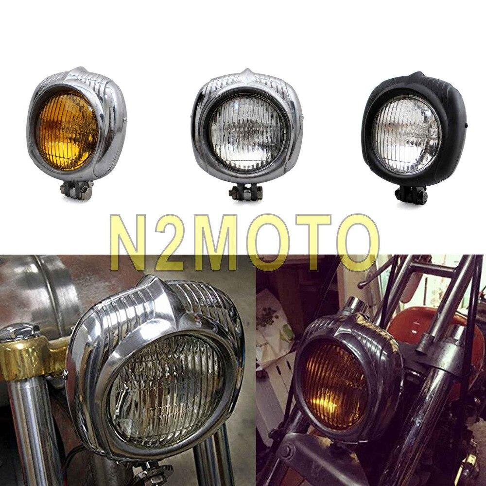 """Sealed Beam 4.5"""" Motorcycle Polish Headlight Retro Head"""