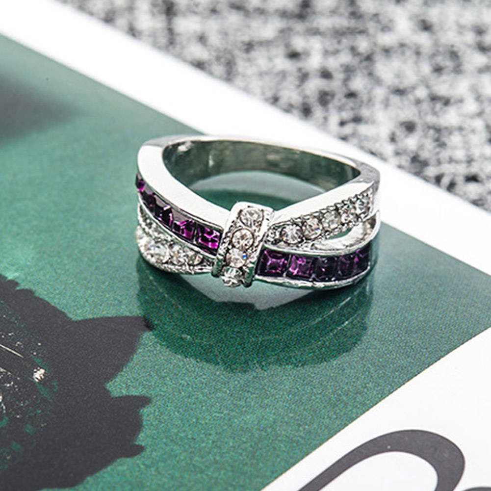 Fashion Elegant Crystal Purple Ring Cross Finger Ring For Women Party Wedding Bridal Jewelry bijoux Full Size ...