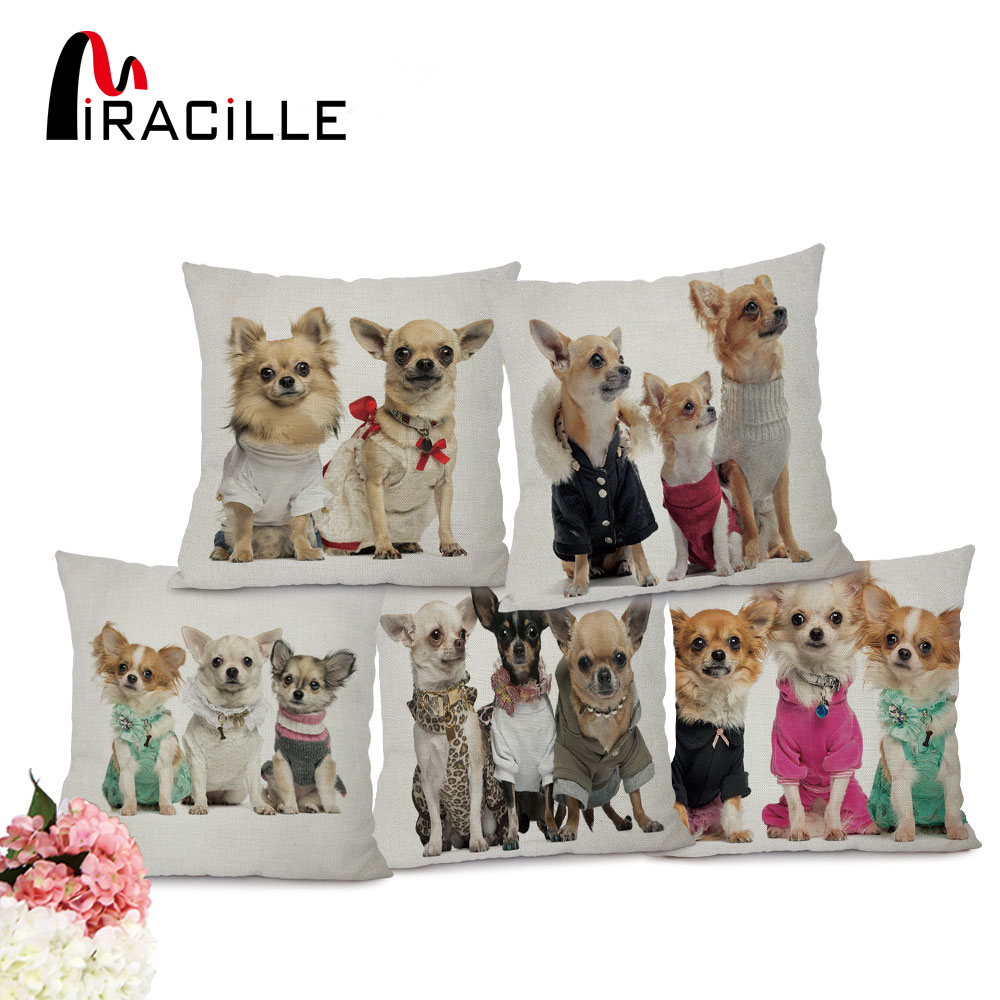 "Miracille 18 ""Cartoon Animal Pattern Trykt Talje Pute Cover Lovely Puppy Cotton Linen Hjem Car Decoration Kast Putetrekk"