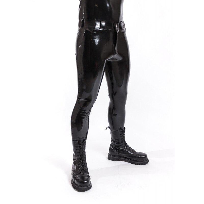 En Stock XXL taille noir serré Latex Jeans Latex caoutchouc Long pantalon avant Zip Latex pantalons pour hommes (pas de ceinture)