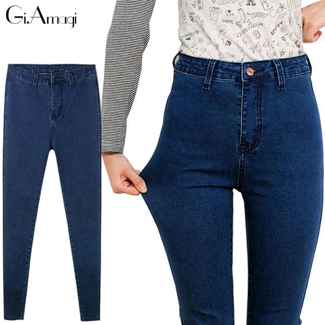 2017 Nova Moda Mulheres Calças, plus Size Estiramento Jeans Skinny De Cintura Alta Calças Mulheres Lápis Azul Casual Calças Slim denim P038