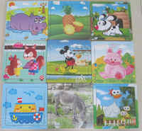 Eco-friendly Wood Puzzles 9 pieces Different Types Children Jigsaw Puzzle M-FUN-01