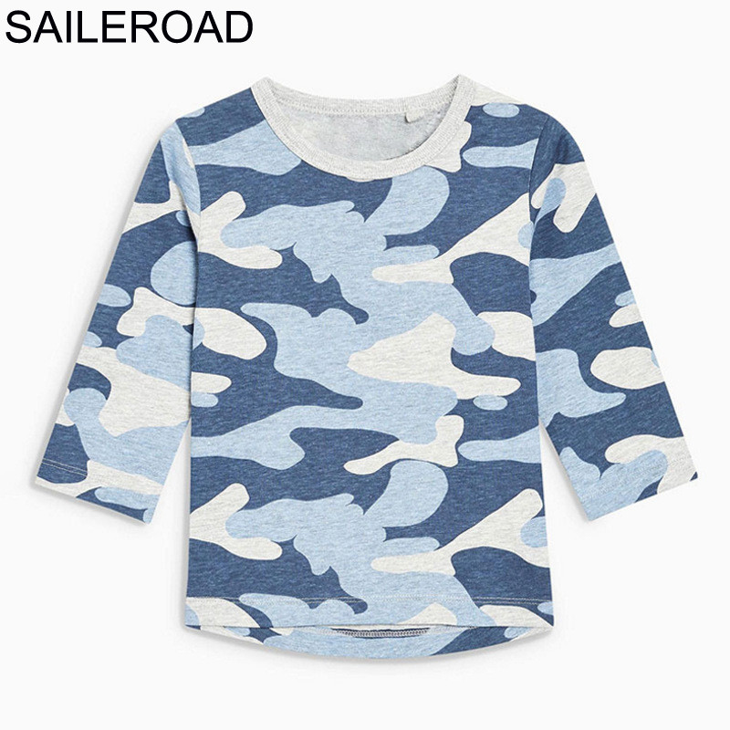 SAILEROAD Shirt Long-Sleeves Boys Tops Autumn Little Fashion with for The Kid Camouflage-Color