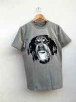 Hoge Nieuwe Novelty 2017 Punk Mannen Mode T-shirts Rottweiler Print T-Shirt Hiphop Skateboard Straat Katoen T-Shirts Tee Hond #147