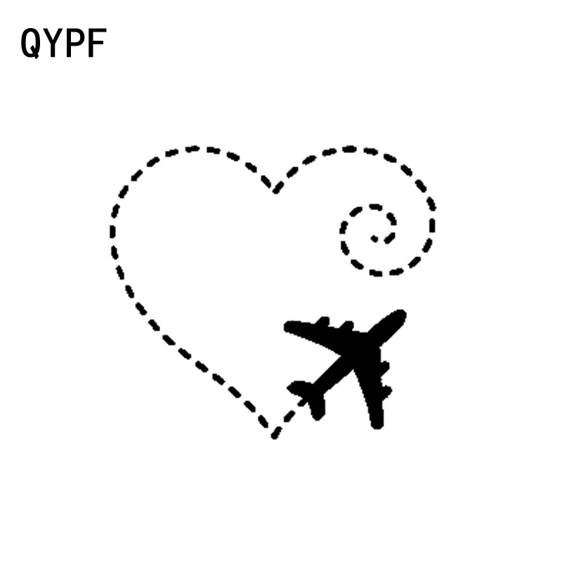 QYPF 15.5CM*13.9CM Airplane Drawing A Heart Swirl Love Sweet Vinyl  Motorcycle Car Sticker Decal Graphical C15-0693