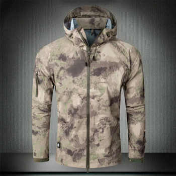 Men Tactical Hard Shell jacket Waterproof and Breathable Military Jacket Army Thin Windbreaker Hoodie Coat hoody outdoor jacket