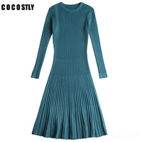 Winter Sweater Dress Women Knitted Slim Pullover Clothing O Neck Sweater Ladies Long Sleeve Long femme dress warm Ladies
