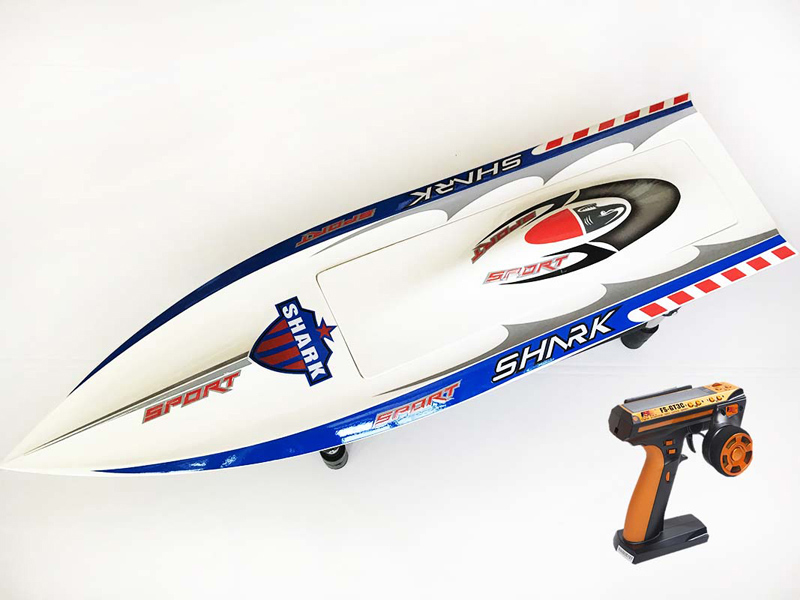 H750 RTR Shark Fiber Glass Electric RC Boat 1750kv Brushless Motor/120A ESC/ Servo/Radio System/Prevent Capsize Function White millet fiber reinforced electric brushless boat with b2445 motor 30a esc with bracket and radio transmitter free adjustment