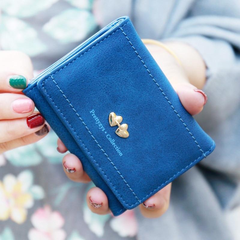 New Fashion Lady Change Purse Fresh Double Love Heart Women Short Wallets Portable Carteira Feminina Fashion Hasp Card Holders detachable double love heart earrings