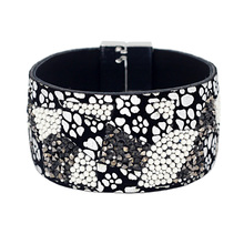 VONNOR Jewelry Women Leather Bracelet with Rhinestone Beads Magnetic Clasp Bangles Bracelets Female Accessories
