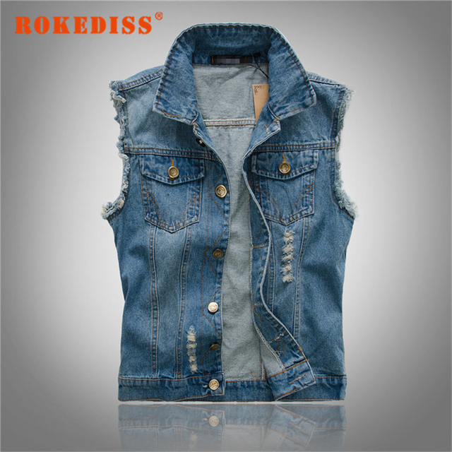 New Men's Denim Blue Jeans Vest Brand Men Cowboy Ripped Vest Vintage Sleeveless Jacket Washed Jeans Hole Waistcoat S-6XL G258