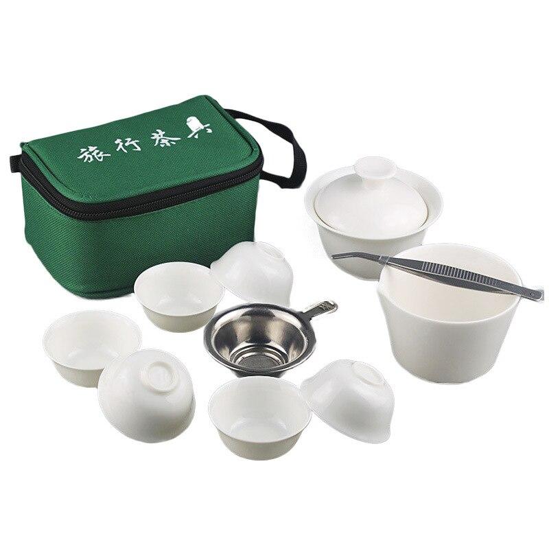 Portable Travel Tea Set,Chinese Ceramic Bone teaset Drinkware Gaiwan Teacup Porcelain Tea Cup The KungFu Outdoor Teapot Set