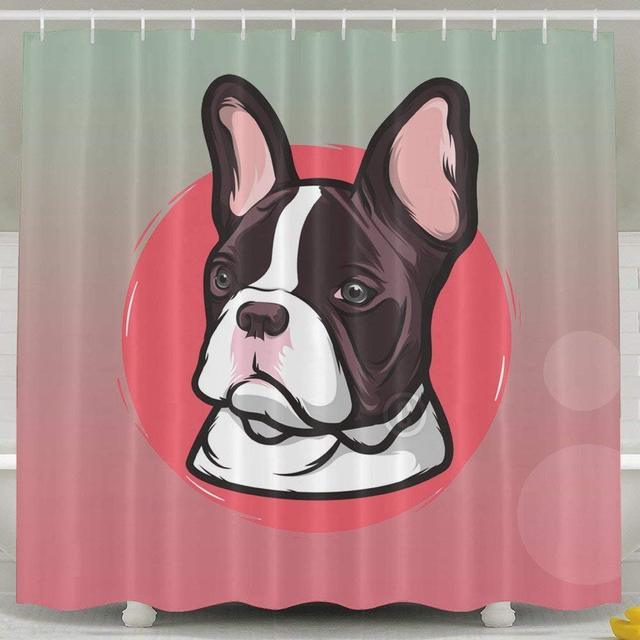 Frenchie French Bulldog Bath 3D Shower Curtain Fabric Bathroom Set With Hooks