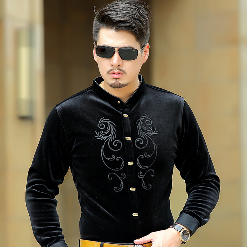 Luxury Quality Manufacturers Supply Jinsirong Men Velour Shirts 2017 New  Plus Size S 4XL Thickening Embroidery Shirt Wholesale-in Casual Shirts from  Men s ... 30ff63034e71