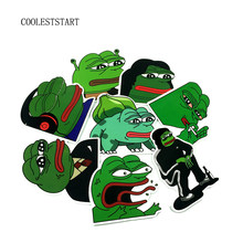 8Pcs/Lot Pepe Sad Frog Funny Sticker For Car Laptop Luggage Skateboard Motorcycle Snowboard Phone Decal Toy Stickers(China)