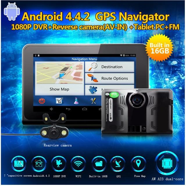 """Best Car Radar detector 7"""" Android GPS Navigator Radar detector DVR camera 1080P auto camera G-Sensor Rear view camera free map"""