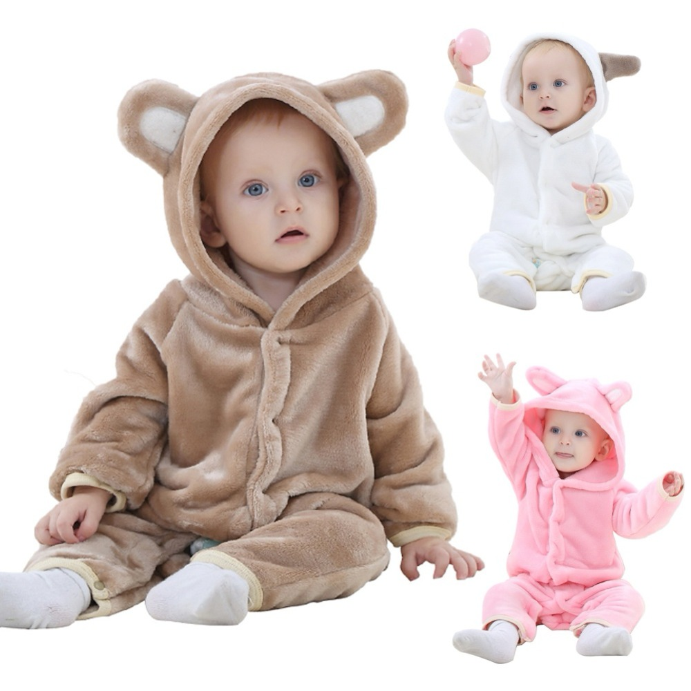 Newborn Baby Boys Girls Hoodie Cartoon Bear Thicken Cotton Onesie Sleepwear Romper Newborn Winter Bodysuits