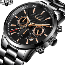 LIGE Watch Men Fashion Sport Quartz Clock Mens Watches Brand Luxury Full Steel Business Waterproof Watch Military Chronograph benyar mens watches top luxury business watch moon phase full steel quartz chronograph sport military watch support dropshipping