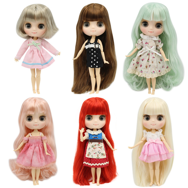 Middie blyth nude doll 20cm JOINT body Frosted face with makeup gray eyes multiple hair color DIY toys gift with gestures