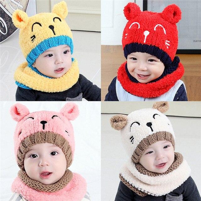 Drop verschiffen Entzückende heißesten kind baby Mädchen Kinder hut warme winter mit kapuze schal ohr kappe gestrickte nette geschenk kostüm für 1-3 t