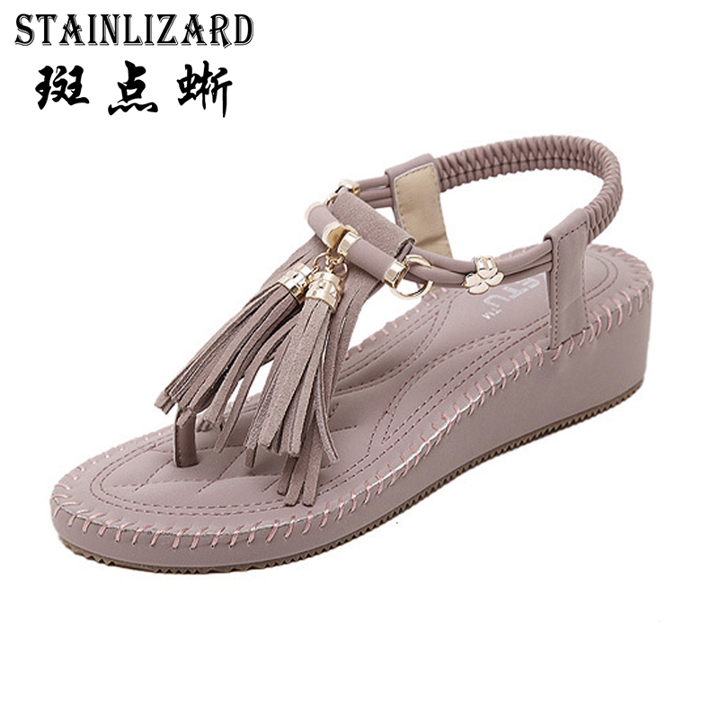 Thick Platform Summer Sandals Beach Bohemia Wedge Gladiator Casual Sexy 2017 Fashion Girls Shoes Flip-Flops women Sandals ABT534 2017 women sandals shoes sapato feminino bownot wedge flip flops fashion beach women slipper shoes bohemia women s shoes flower