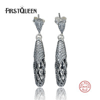FirstQueen Vintage 925 Sterling Silver Lace Botanique, Clear CZ Floral Dangle Long Earrings for Women Jewelry