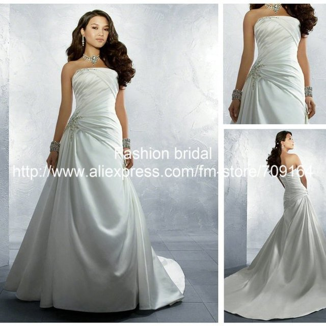 Designer A Line Off the Shoulder Beading Court Train SW102 Satin Wedding Dress Gown