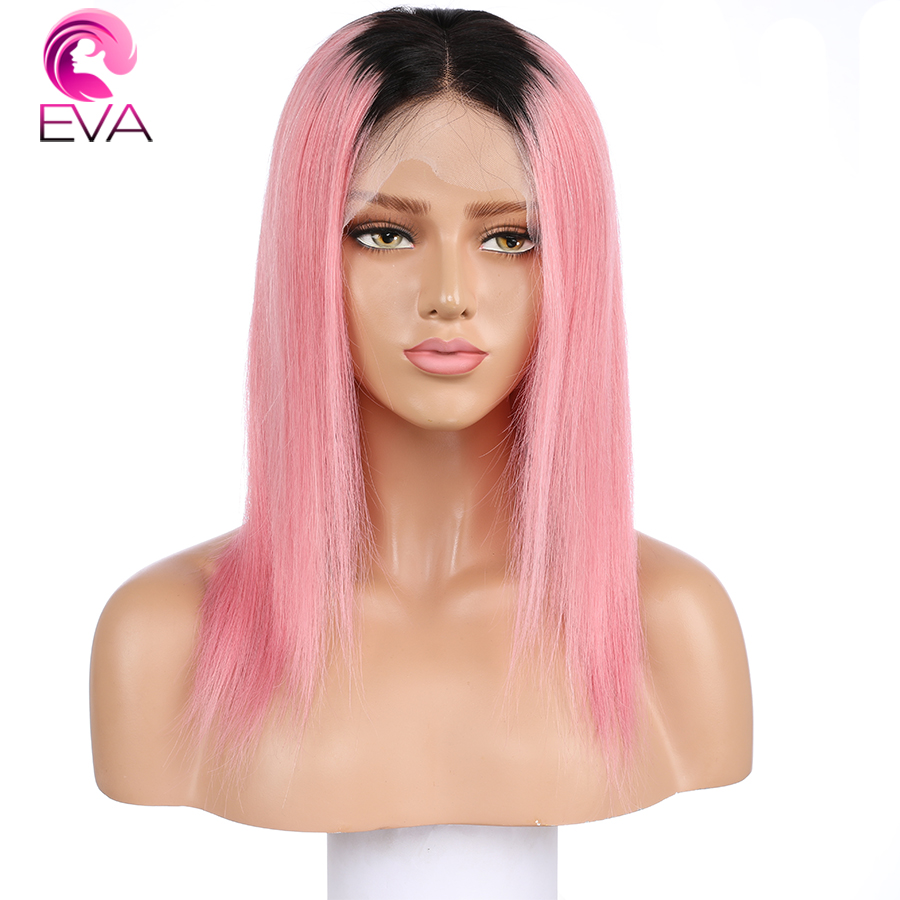 Colored 1B/Pink Brazilian Straight Hair Bleached Knots Two Tone Color Lace Front Human Hair Wigs With Baby Hair Remy Hair Eva