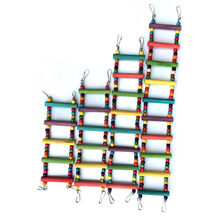 все цены на 1 pcs Birds Pets Parrots Ladders Climbing Toys Hanging Colorful Wooden beads With Natural Wood Birds toys Bird cage accessories онлайн