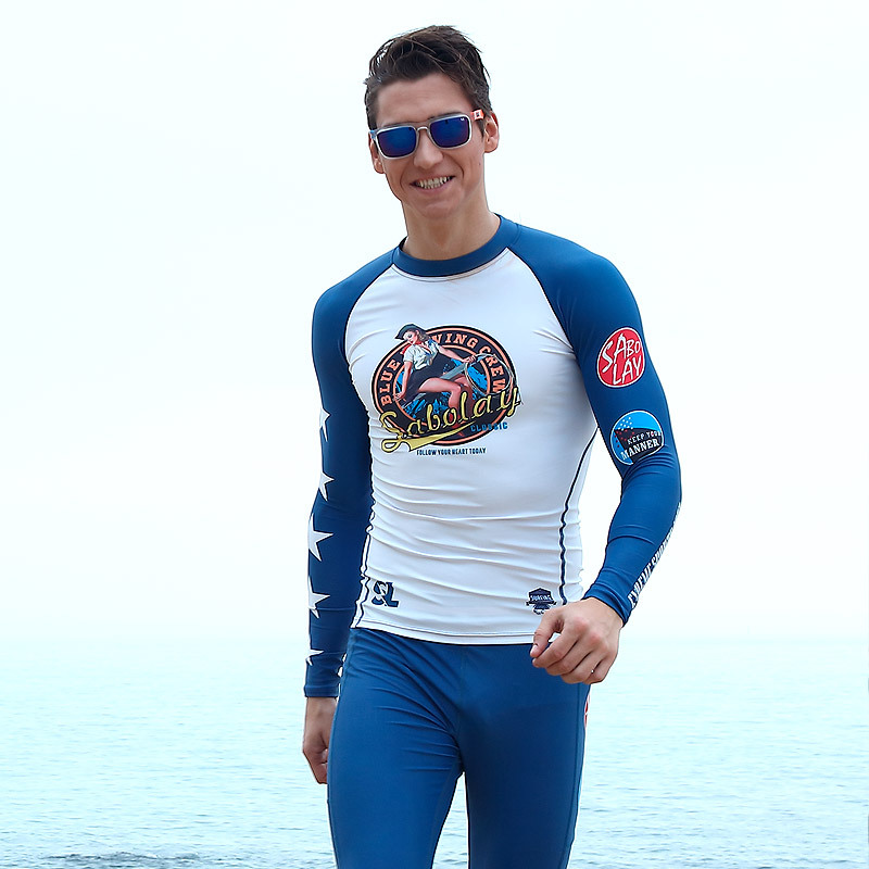 SABOLAY rashguard swim shirts surf t shirt long sleeve swim top uv swim shirts sport suit mens swimwear pants