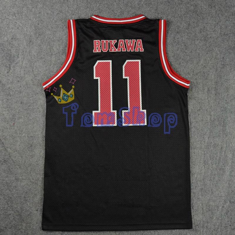 SLAM DUNK Cosplay Costume Shohoku School #11 Kaede Rukawa Black Basketball Jersey Tops Shirt Vest Sports Wear Team Uniform
