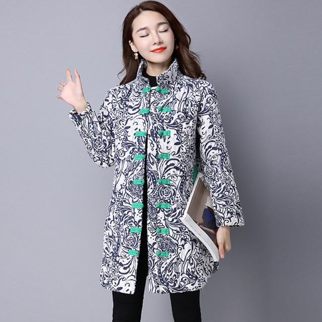 New Autumn And Winter Ladies Trench Coat Fashion Large Size Linen Cotton Trench Coat High-Quality Flower Printing Office Outwear