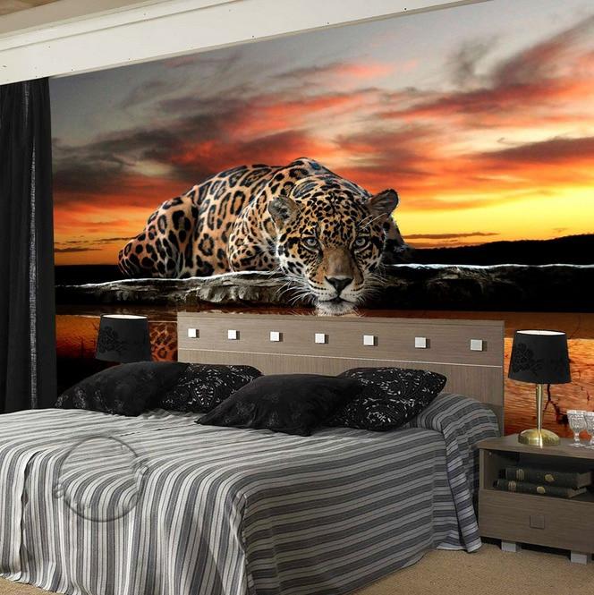 Sonnenuntergang Tiger betrachtet Sie Animal Wallpaper 8D Papel ...