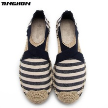 TINGHON Fashion Espadrilles Stripe Comfortable Slip-on Womens Casual slippers Breathable Flax Hemp Canvas for girls