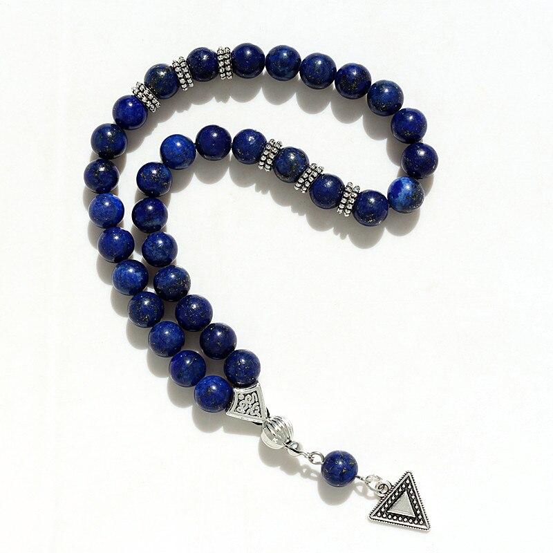 8mm lazuli beads with hand charm round shape 33 prayer