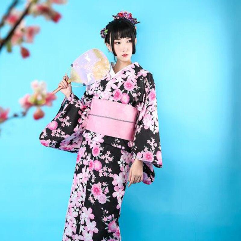 Japanese Traditional Kimono BLACK Print Floral Women Formal Evening Dress Gown National Yukata Elegant Robe Cosplay Costume
