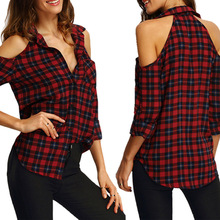 Women Plaid Blouse Tops V-neck Spring Autumn Shirt Casual Roll Up Long Sleeve Cold Shoulder Feminina Blouse Blusas Blusa