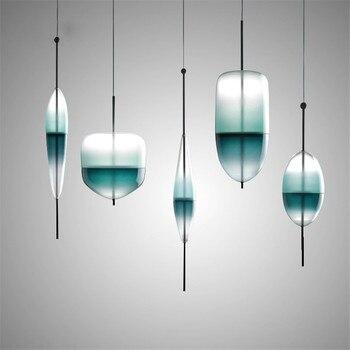 Post-Modern Gold/Blue Water DROP Kaca Liontin Lampu Logam Lampu untuk Ruang Tamu Kamar Tidur Restoran Rumah lampu Dekorasi