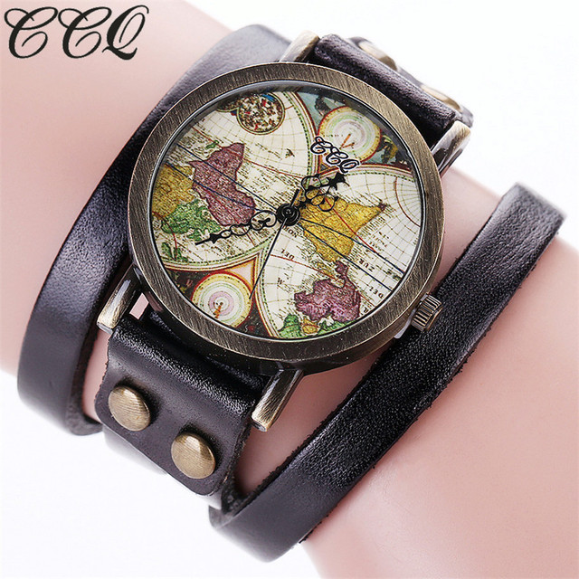 US $3.39 20% OFF|CCQ Brand Women Fashion World Map Watch Vintage Genuine  Leather Rivet Punk Casual Bracelet Quartz Watch Relogio Feminino -in  Women\'s ...