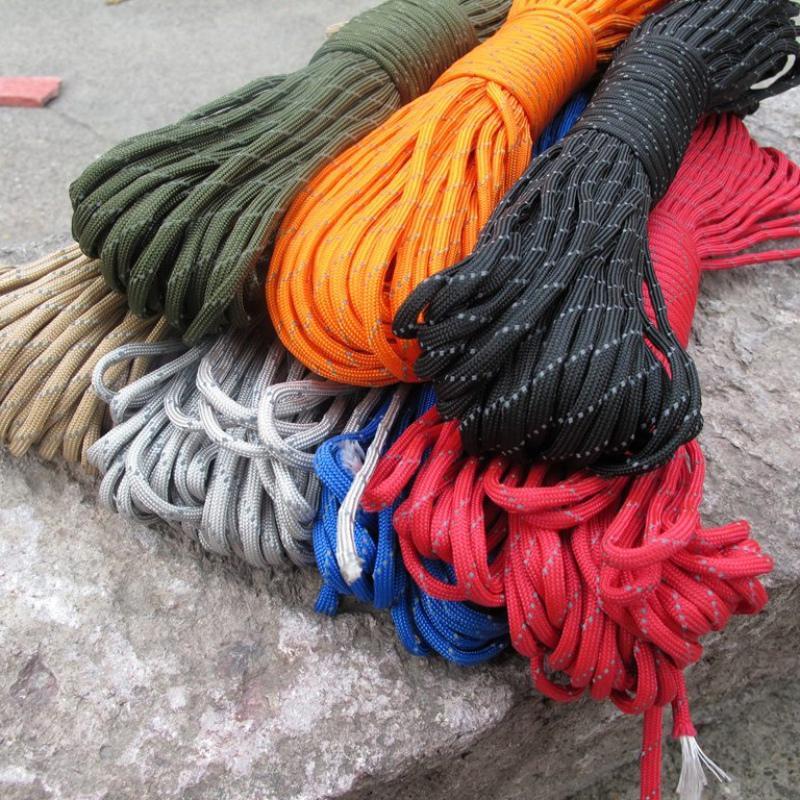 9 Strand Luminous Light Reflective Paracord 100FT Parachute Cord for 550 Camping and Hiking Outdoor Travel kits Useful 2018 oumily reflective multi purpose paracord nylon rope cord reflective grey 30m 140kg