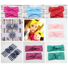 Women Parent Child Mom Kids Toddler Baby Girls Headband Headwrap Turban Hair Band Bow Knot Sequins Lace Rhinestone Pearl Flower